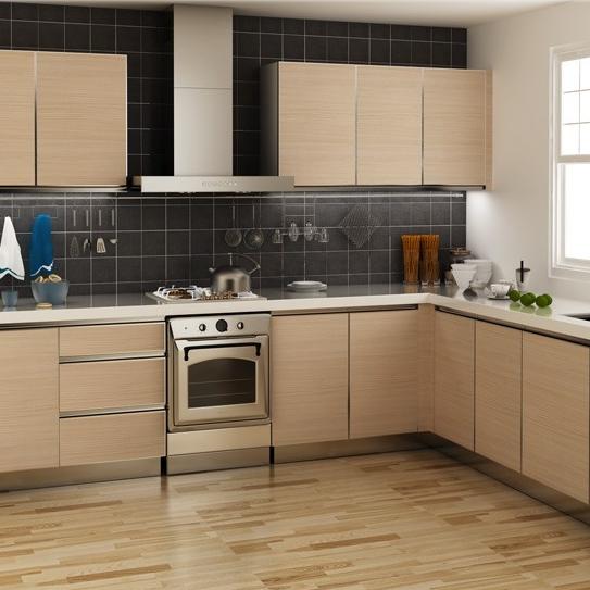 Customized Saddletree Wood Grain Melamine Kitchen Cabinet